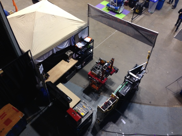 view of our pit from floor above.